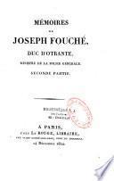 Mémoires de Joseph Fouché, duc d'Otrante,...