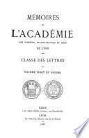 Mémoires de l'Académie des sciences, belles-lettres et arts de Lyon
