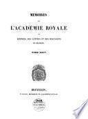 Mémoires de l'Académie Royale des Sciences, des Lettres et des Beaux-Arts de Belgique