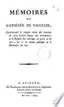 Mémoires de l'Athénee de Vaucluse