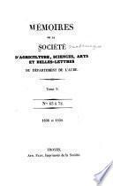 Mémoires de la Société académique d'agriculture, des sciences, arts et belles-lettres du département de l'Aube