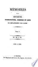 Mémoires de la Société d'agriculture, des sciences, arts et belles-lettres du département de l'Aube