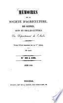 Mémoires de la Société d'Agriculture, Sciences, Arts et Belles-Lettres du Departément de l'Aube
