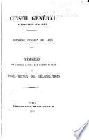 Mémoires de M. le préfet de la Seine & de M. le préfet de police et procès-verbaux des délibérations
