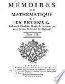 memoires de mathematique et de physique