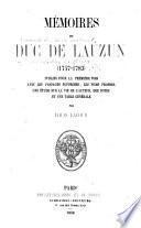Mémoires du duc de Lauzun (1747-1783)