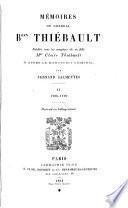 Mémoires du général Bon Thiébault: 1795-1799. 2 éd. 1894