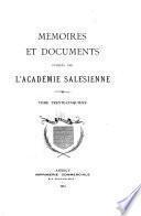 Mémoires et documents publiés par l'Académie salésienne