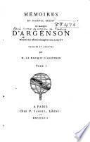 Mémoires et journal inédit du marquis d'Argenson