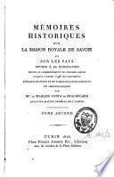 Mémoires historiques sur la Maison royale de Savoie et sur les pays soumis à sa domination