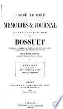 Mémoires & Journal sur la vie et les ouvrages de Bossuet
