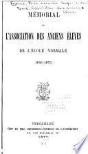 Mémorial de l'Association des anciens élèves de l'École normale 1846-1876