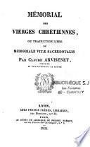 Mémorial des vierges chrétiennes ou traduction libre du Mémoriale Vitae Sacerdotalis