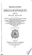 Miscellanées bibliographiques