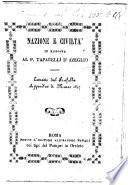 Nazione e Civiltà in risposta al P. Taparelli d'Azeglio. [Signed: P. C. A.] Estratto dal Fanfulla, etc