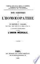 Note scientifique sur l'homoeopathie