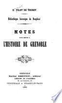Notes pour servir à l'histoire de Grenoble