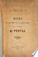 Notes pour servir à l'histoire de la famille de Pontac