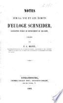 Notes sur la vie et les écrits d'Euloge Schneider