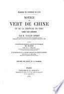 Notice du vert de Chine et de la teinture en vert chez les chinois