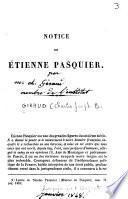 Notice sur Etienne Pasquier