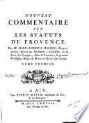 Nouveau commentaire sur les statuts de Provence
