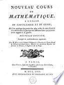 Nouveau cours de mathématique, à l'usage de l'artillerie et du génie
