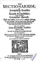 Nouveau Dictionnaire France Aleman. et Alem. François ... en faveur des autres nations de l'Europe