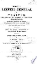 Nouveau recueil général de traités: 1850-1873