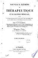 Nouveaux élémens de thérapeutique et de matière médicale