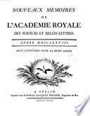Nouveaux memoires de l'Academie Royale des Sciences et Belles-Lettres