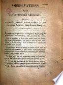 Observations pour sieur Joseph Seriziat, contre M. Pierre Seriziat et autres cohéritiers de dame Antoinette Rey, veuve d'autre Pierre Seriziat