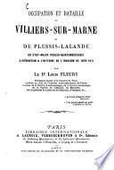 Occupation et bataille de Villiers-sur-Marne et de Plessis-Lalande