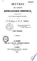 Oeuvres de C. Sollius Apollinaris Sidonius
