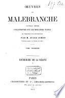 Oeuvres de Malebranche: Recherche de la vérité, I-II