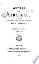 Oeuvres de Mirabeau: Lettres à Sophie, t. I-III