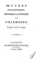 Oeuvres philosophiques, historiques et littéraires de d'Alembert