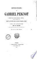 Opuscules de Gabriel Peignot