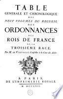 Ordonnances des roys de France de la troisième race, recueillies par ordre chronologique