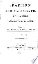 Papiers saisis à Bareuth; et à Mende, département de la Lozère
