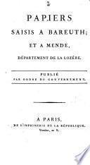 Papiers saisis à Bareuth et à Mende Département de la Lozère