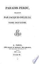 Paradis perdu, traduit par Jacques Delille