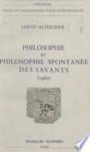 Philosophie et philosophie spontanée des savants