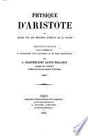 Physique d'Aristote, ou, Leçons sur les principes généraux de la nature