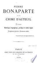 Pierre Bonaparte et le Crime d'Auteuil