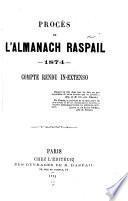 Procès de l'almanach Raspail, 1874
