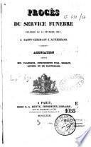 Procès du service funèbre le 14 février 1831 à St Germain - l'Auxerrois