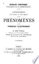 Programme d'un cours en sept leçons sur les phénomènes et les théories électriques