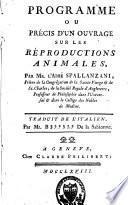 Programme ou précis d'un ouvrage sur les réproductions animales