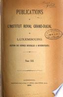 Publications de l'Institut royal grand-ducal de Luxembourg